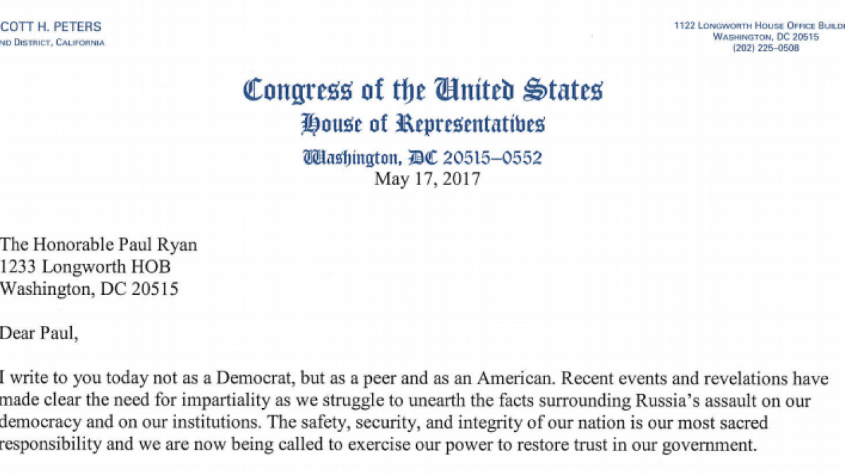 Rep Peters Sends Letter To Every House Republican Urging Them To